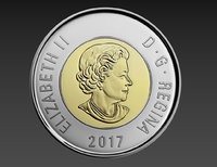 2 dollars canadian coin 3D