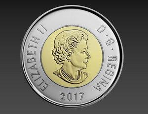 2 dollars canadian coin 3D