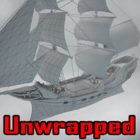unwrapped ship brig 3D model