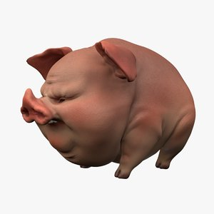 cartoon pig 3D model