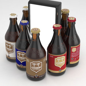 bottles beer chimay 330ml 3D model