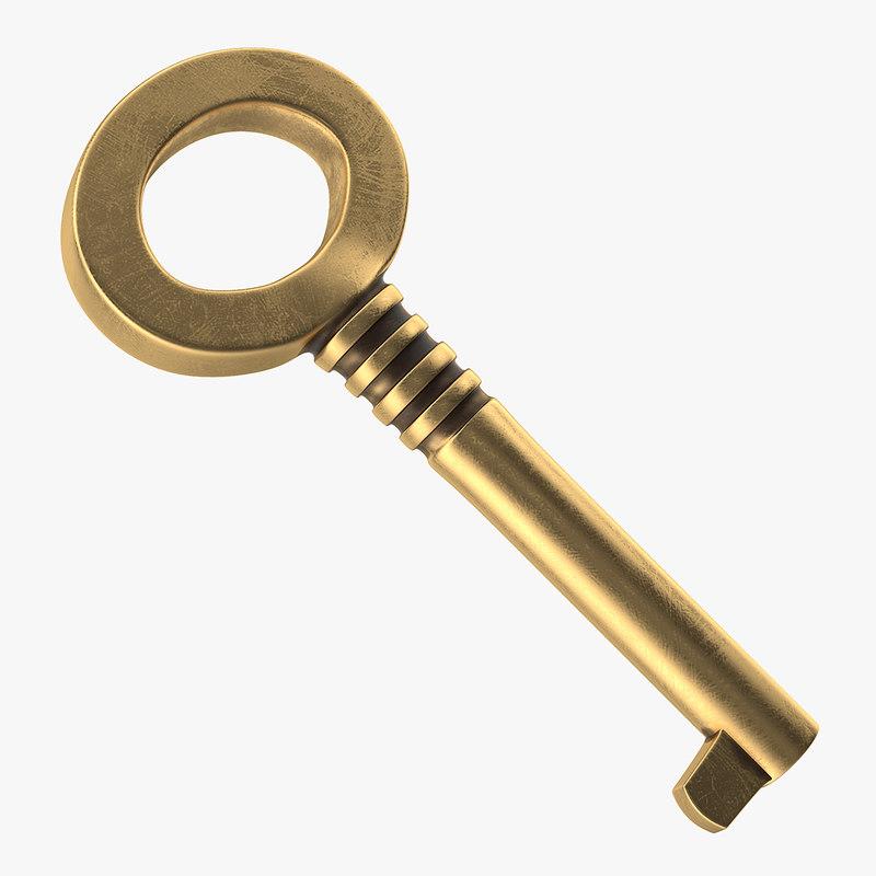 brass skeleton key 3D model