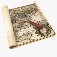 Retro Magnifier On Old Map