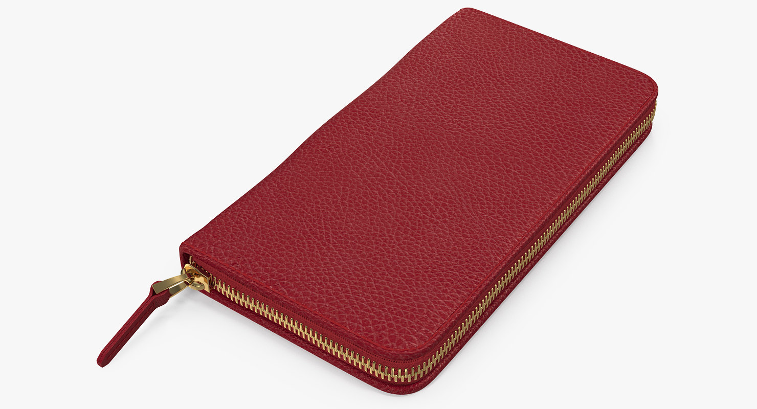 3D model women purse wallet red