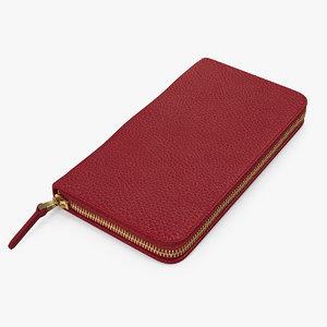 3D model women purse wallet red