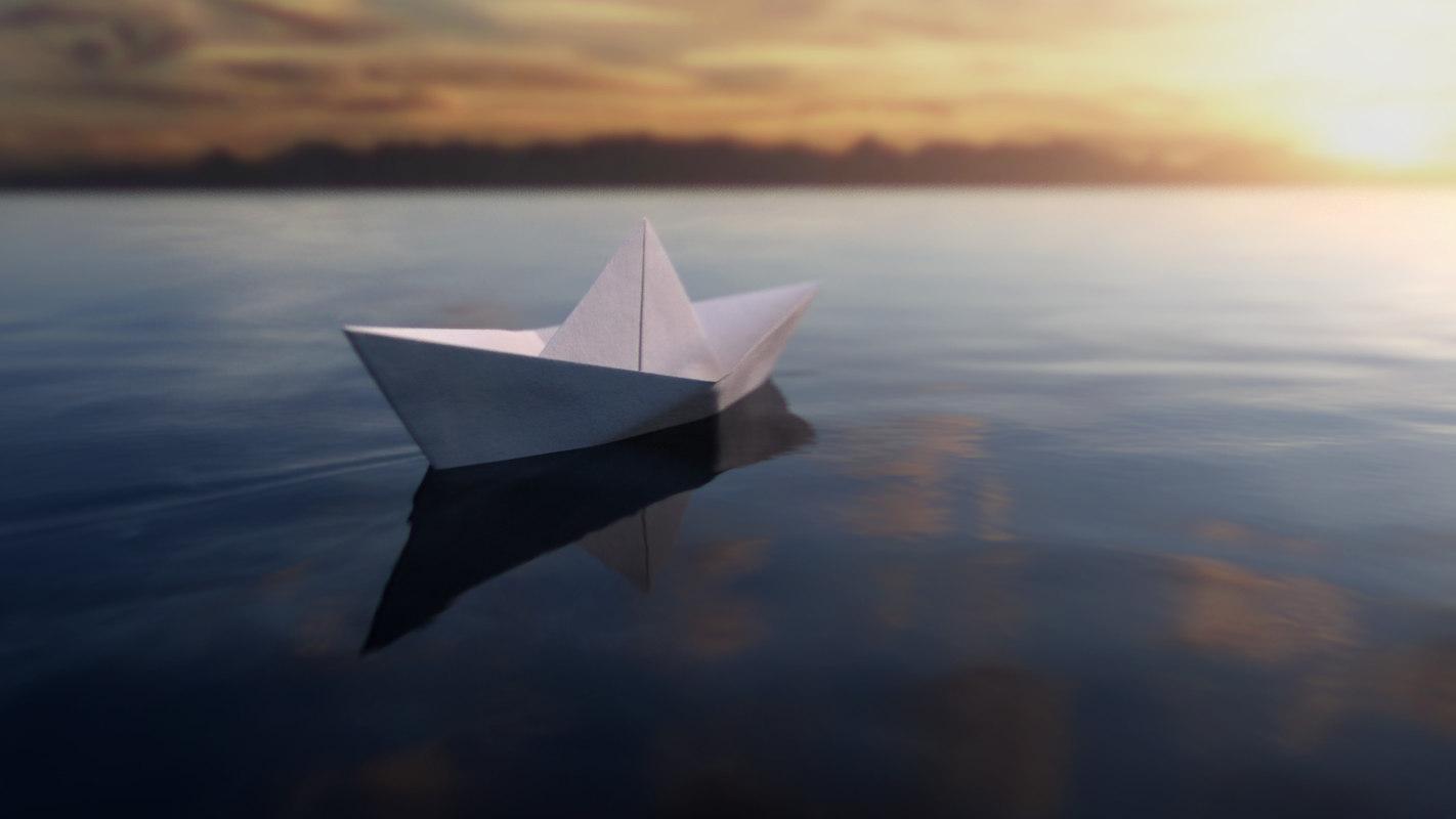 3D model water paper boat
