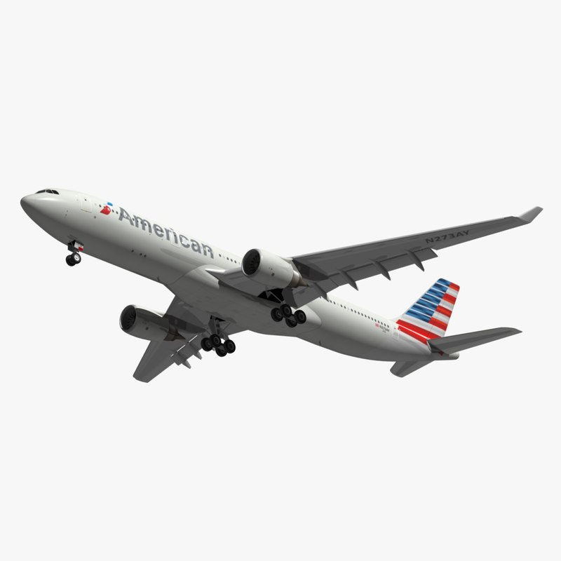airbus american airlines a330 3D model