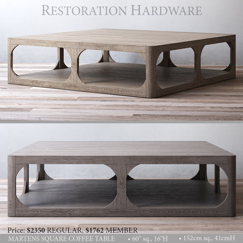 restoration martens square coffee table 3D model