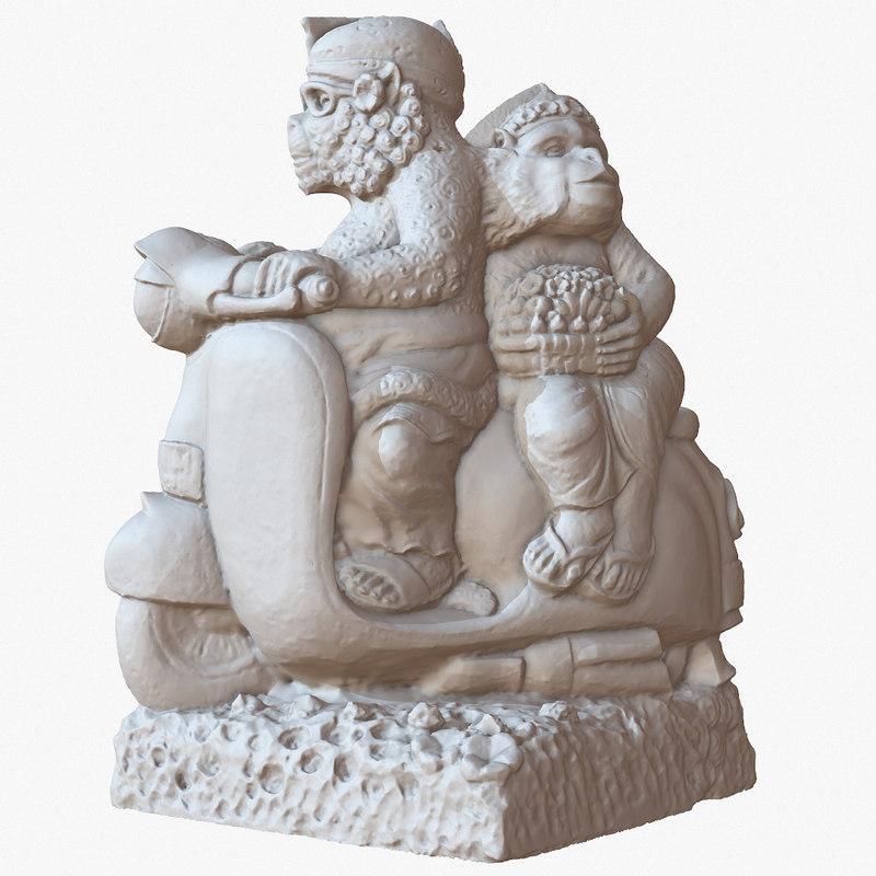 sculpture bali monkeys bike 3D