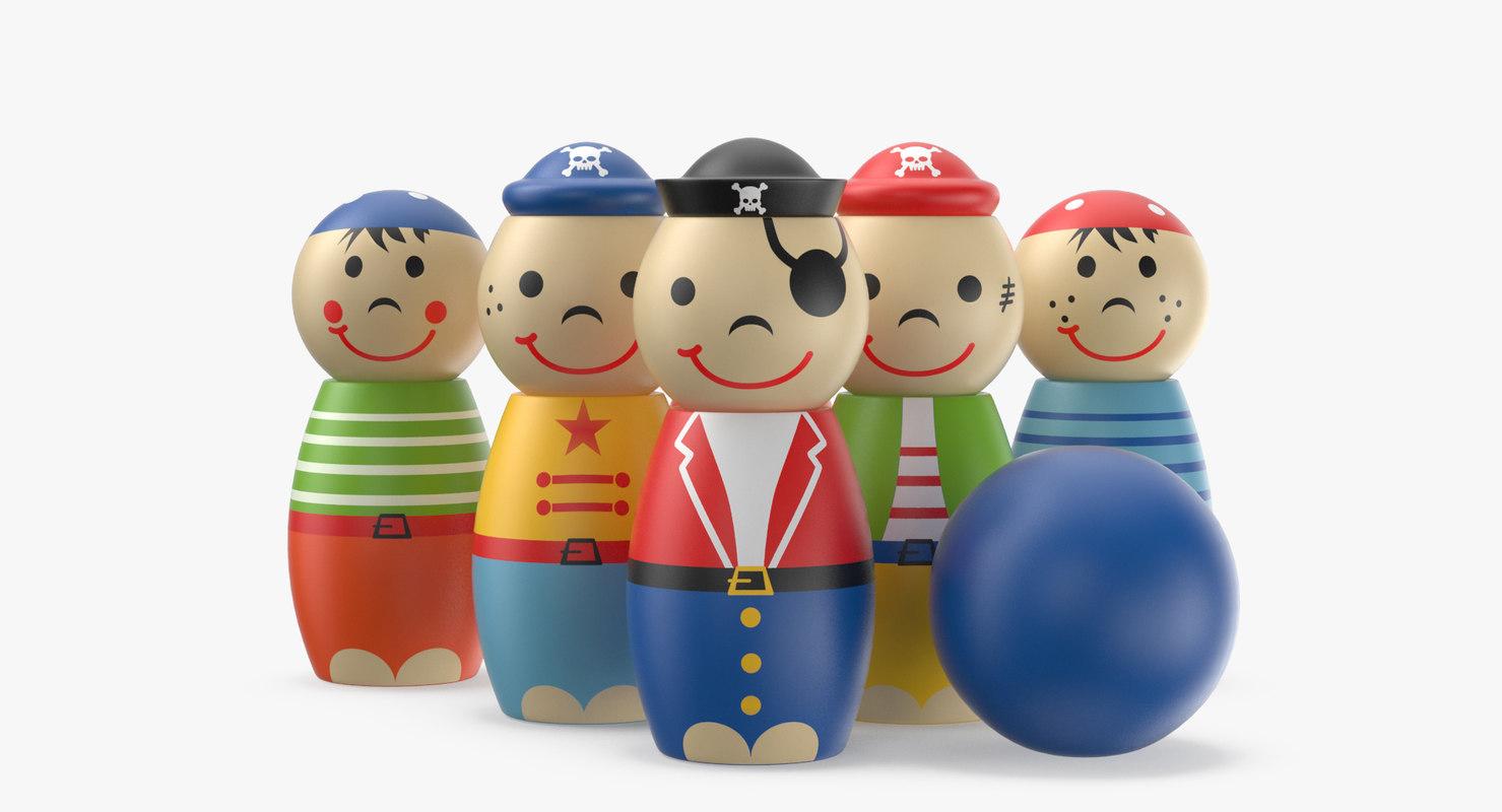 3D bowling pin toy pirates