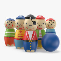 3D bowling pin toy pirates