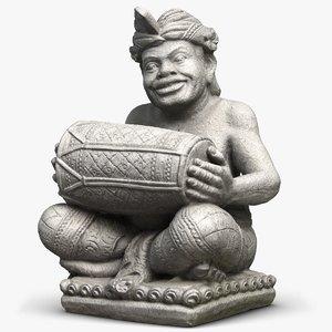3D sculpture bali musicant drummer