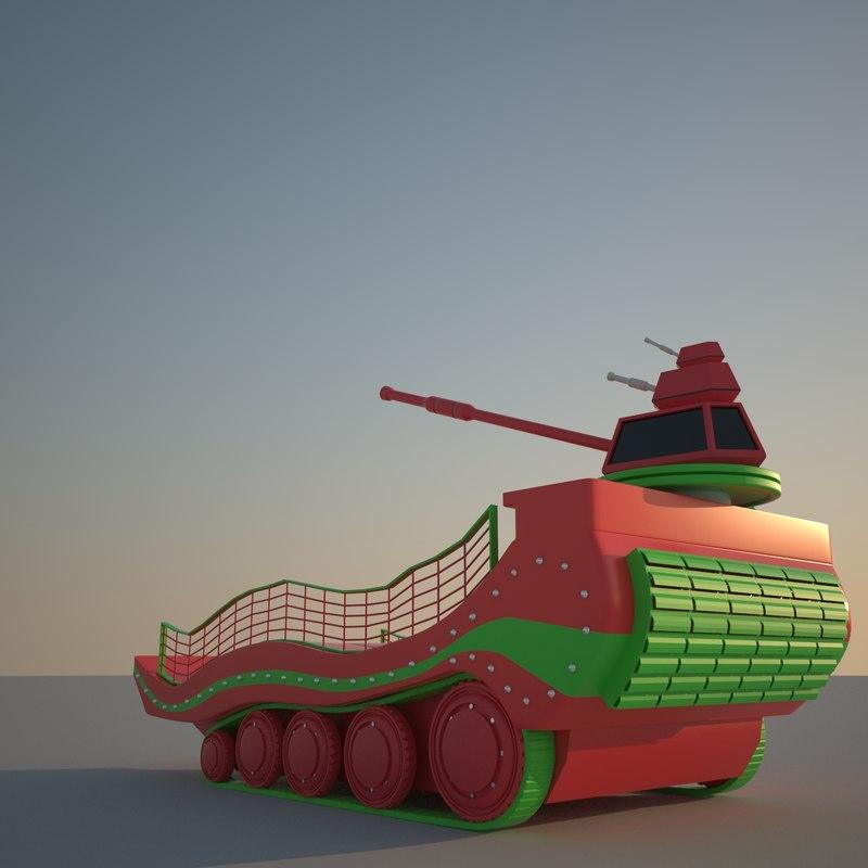 scifi colorful tank 3D model