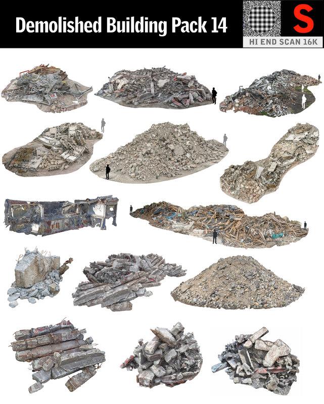 3D demolished building pack 14 model