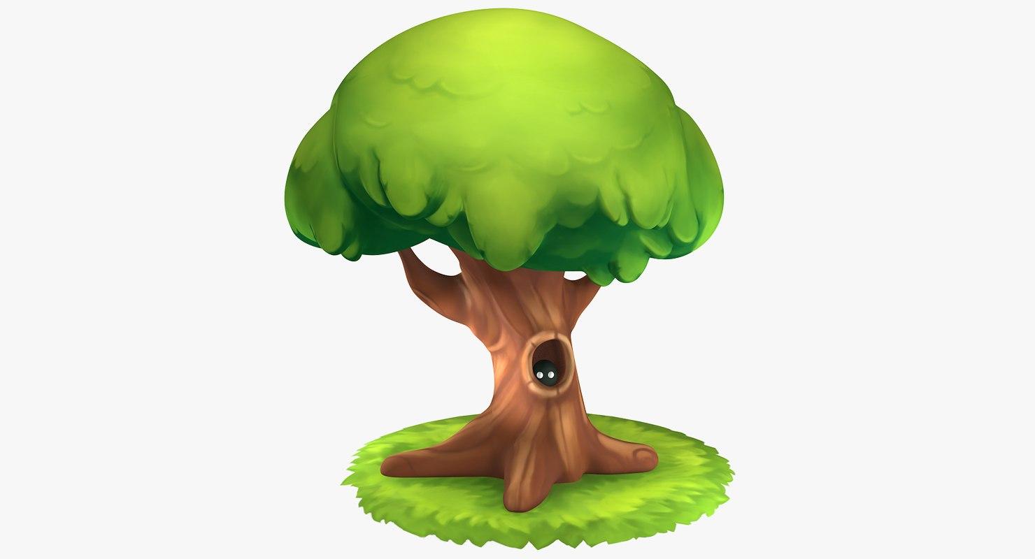3D model cartoon oak tree