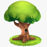 3D model cartoon oak tree