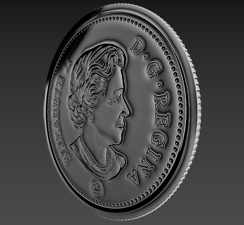 25 cents canadian coin 3D model