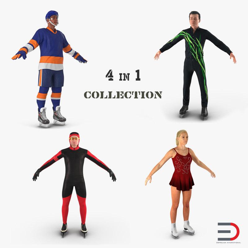 3D winter sport characters model