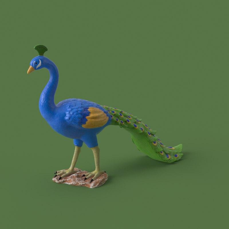 3D model garden peacock
