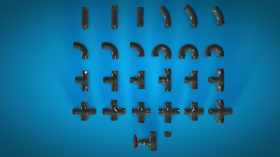 3D water pipe fittings