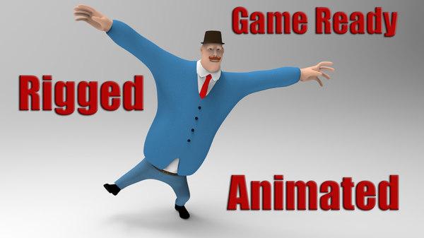 3D rigged cartoon man gentleman model