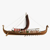 drakkar ship viking longship 3D model