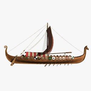drakkar ship viking longship 3D model