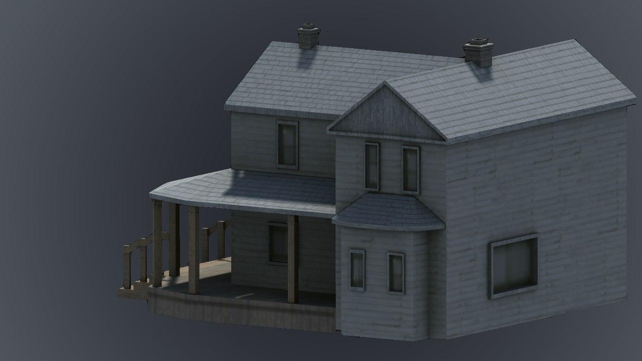 Farmhouse exterior prop 3d model turbosquid 1222375 for Exterior 3d model