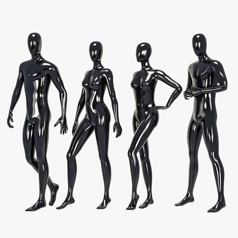 set male female mannequin 3D