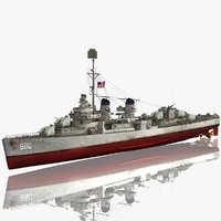 uss melvin dd fletcher 3D model