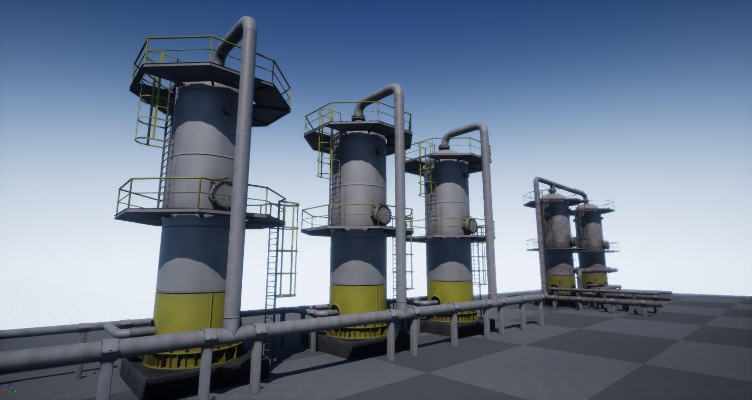 pbr industrial vertical vessel 3D model