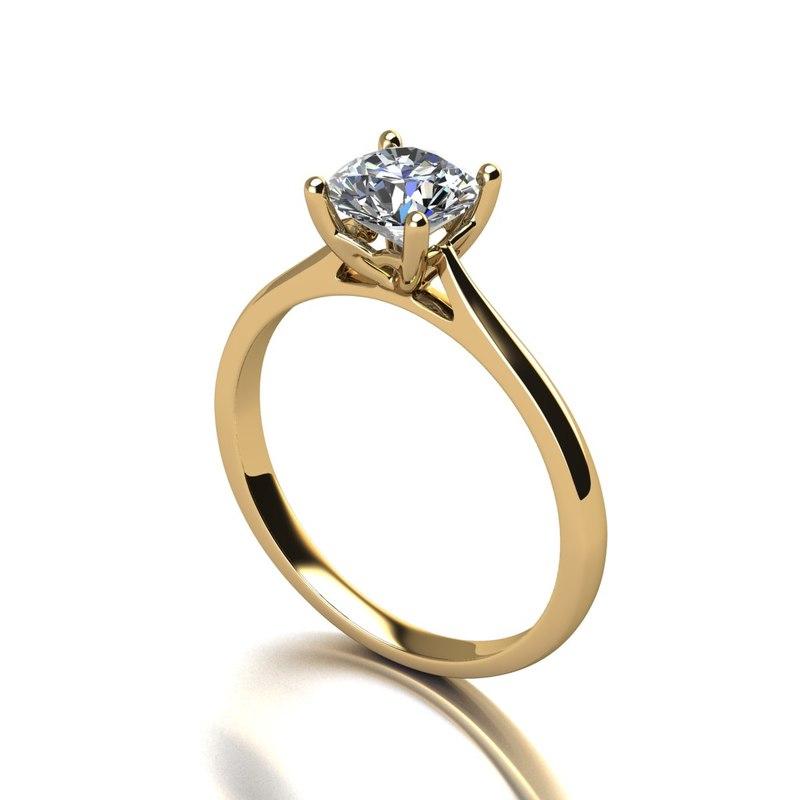 3D engagement ring gem model