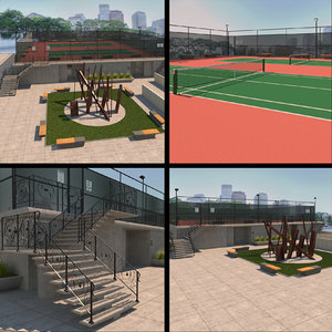 raised tennis court 3D