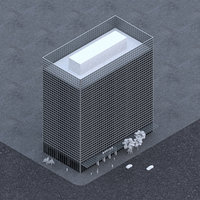 12 story office skyscraper building model