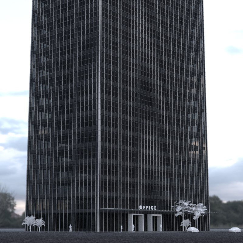 3D 24 story skyscraper building model