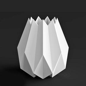 3D vase menu folded tall