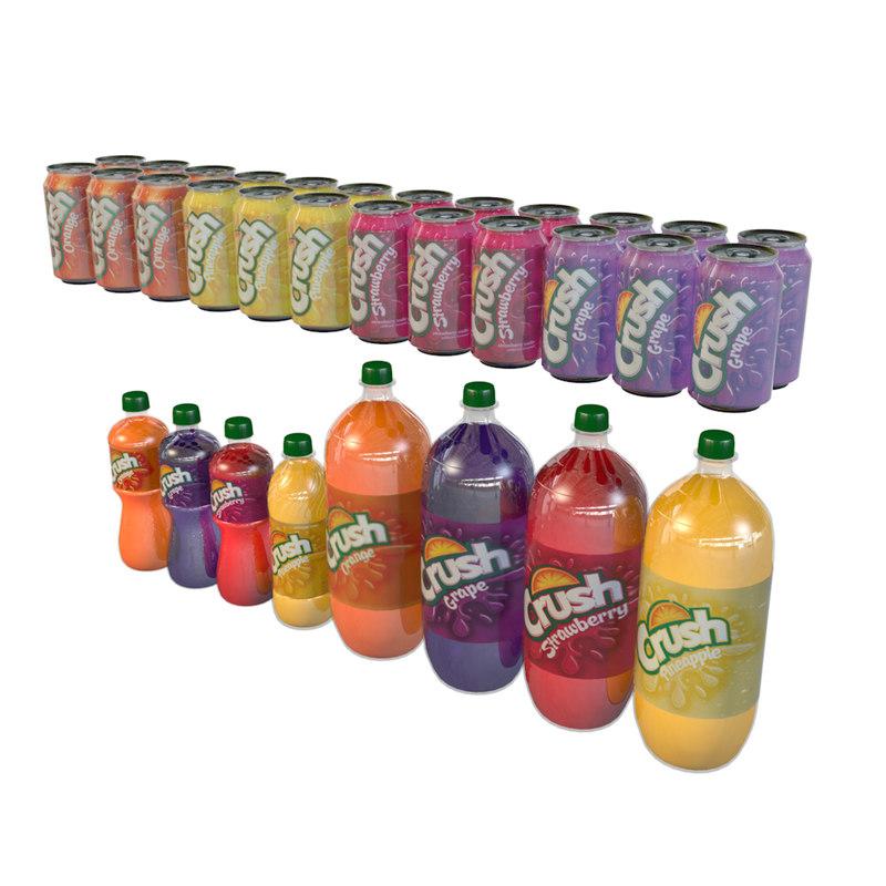 3D ounce cans bottles crush model