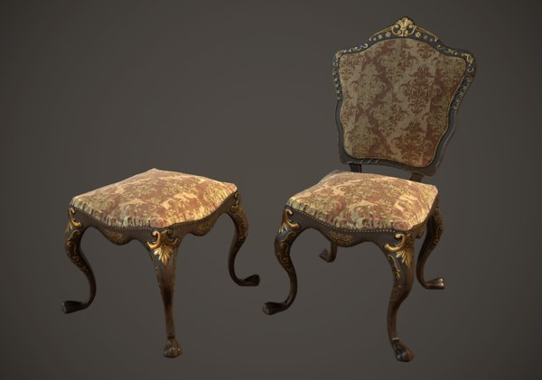 victorian dining chair stool 3D