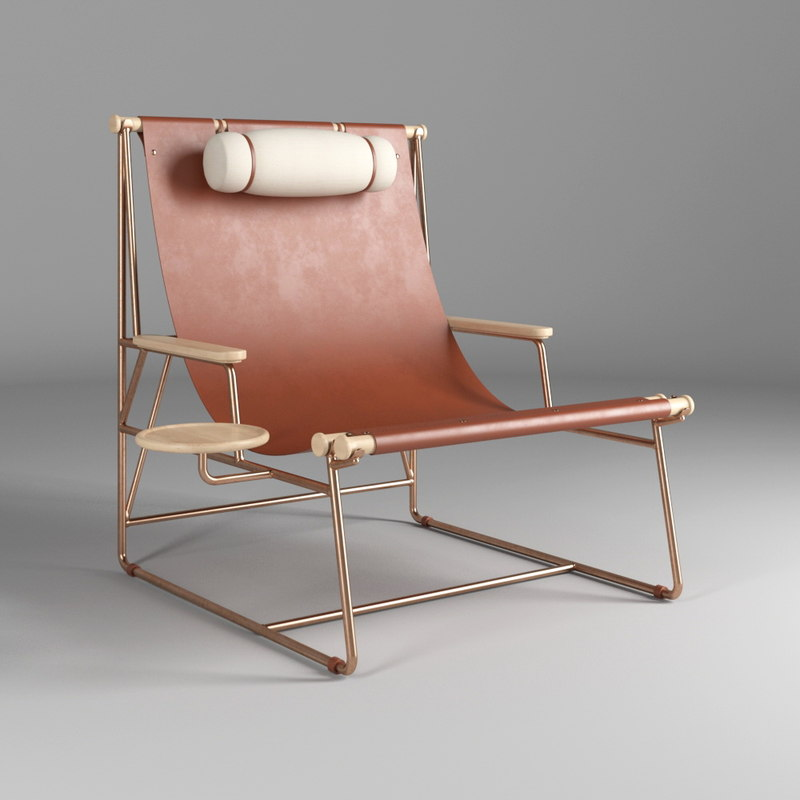 leather deck chair 3D model