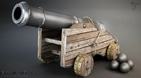 middle age cannon 3D model