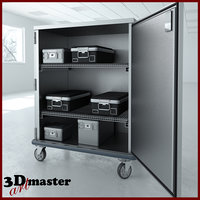 double door tall stainless steel 3D model