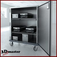 double door tall stainless steel 3D model