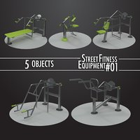 3D model street fitness equipment 5objects