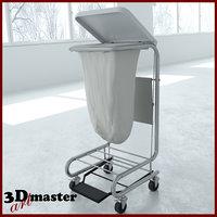 medical square tilt-top hamper 3D model