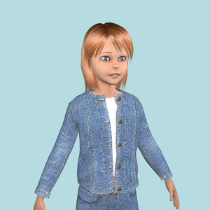 cartoon teenage girl clothes 3D model