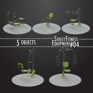 3D model street fitness equipment 5objects