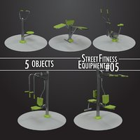 3D street fitness equipment 5objects