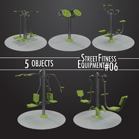 3D street fitness equipment 5objects model