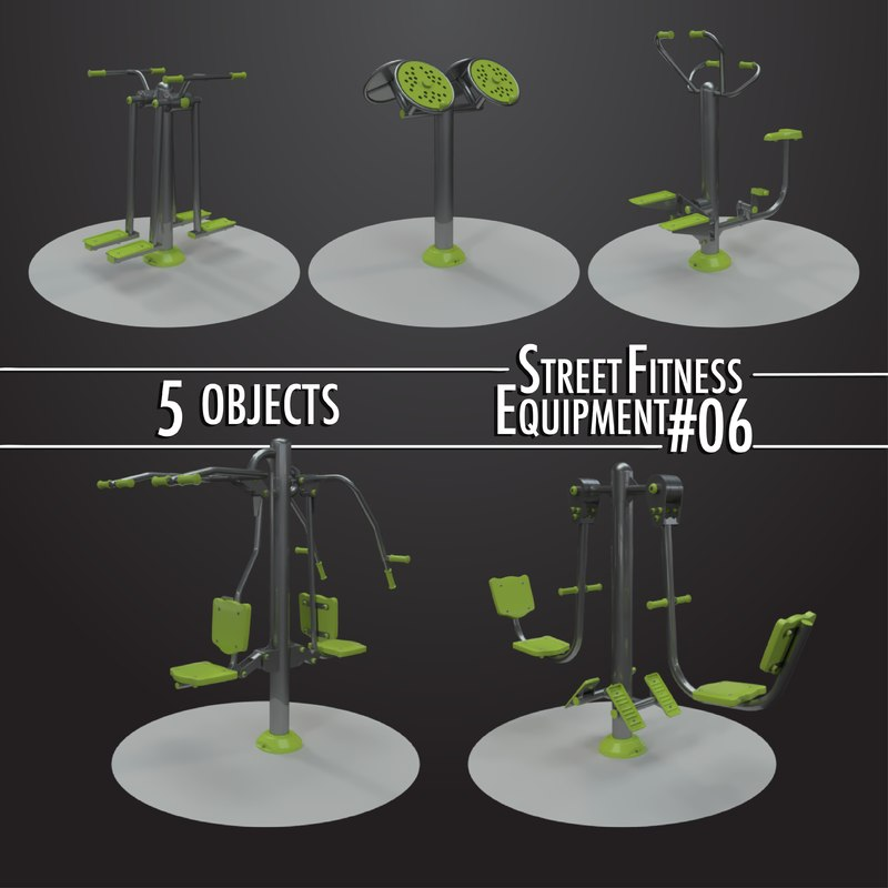 3D street fitness equipment 5objects model
