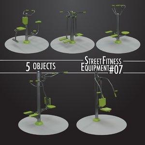 street fitness equipment 5objects 3D model